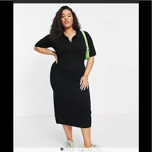 Cotton:On Curve knit polo dress in black NEW!